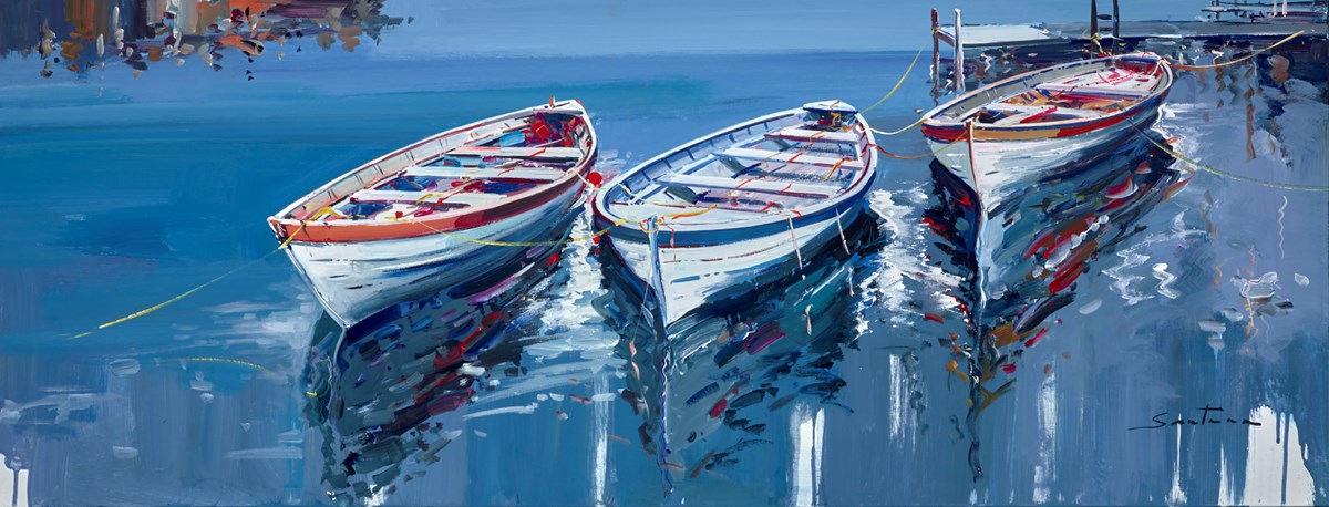 Moored in the Harbour II by santana -  sized 51x20 inches. Available from Whitewall Galleries